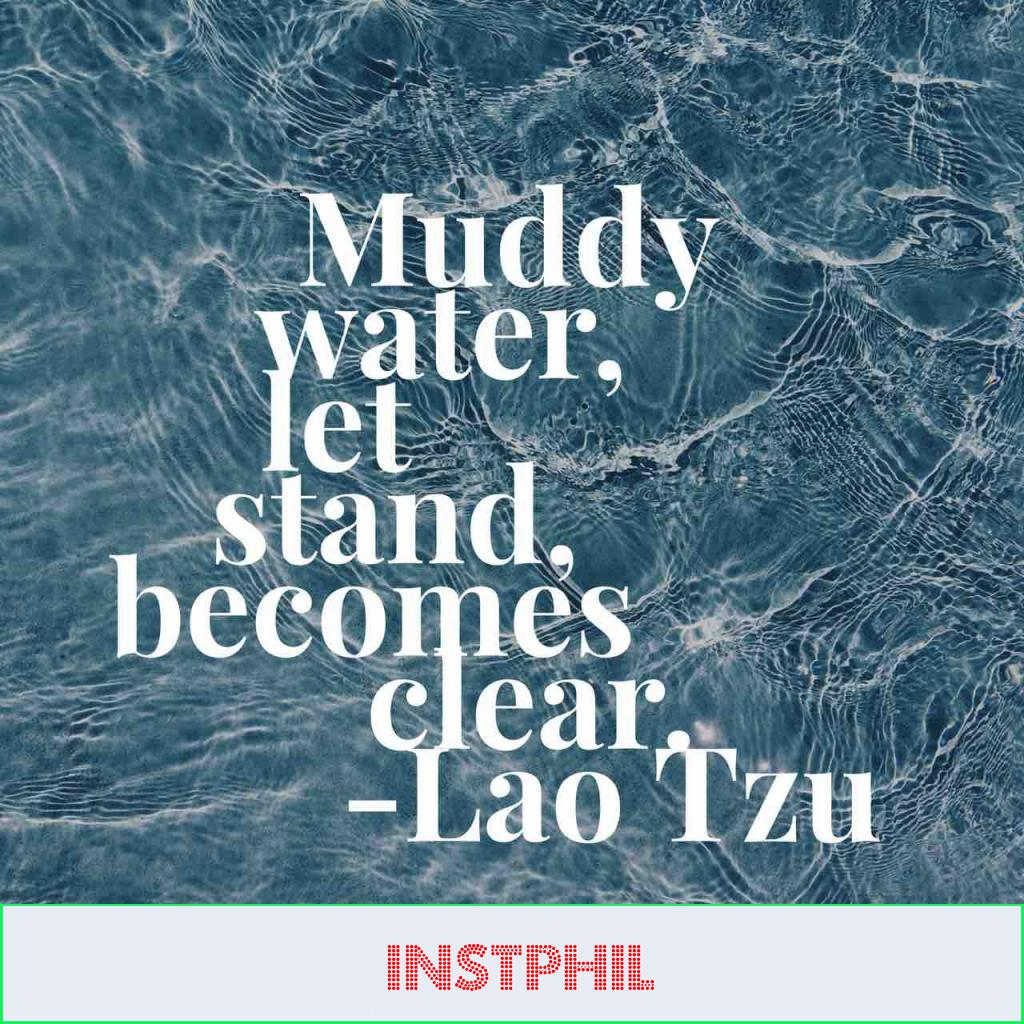 "Lao Tzu quote ""Muddy water, let stand, becomes clear"""