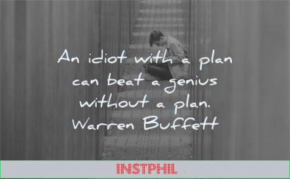 discipline quotes idiot plan can beat genius without warren buffett wisdom man sitting writing