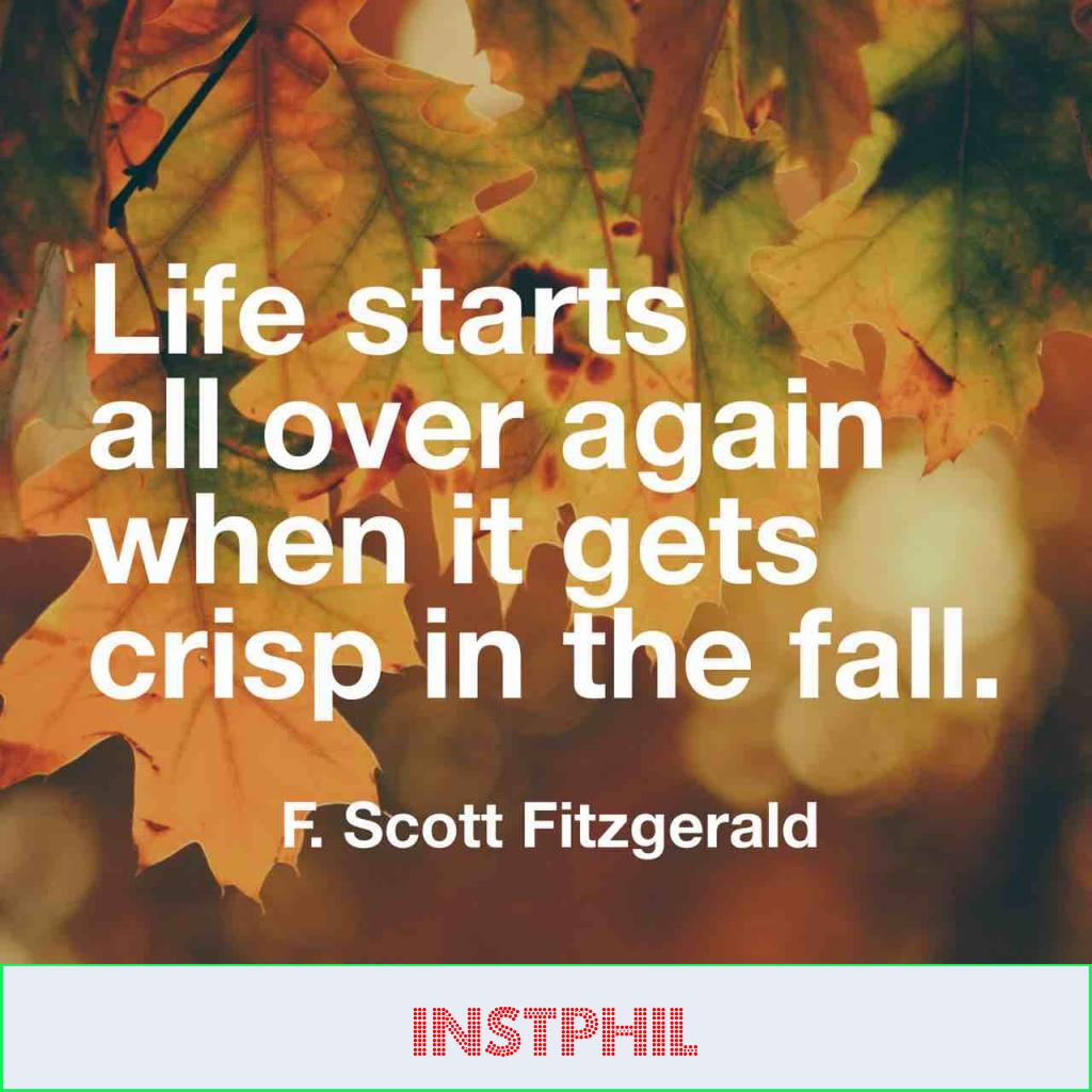 "F Scott Fitgerald fall quote ""Life starts all over again when it gets crisp in the fall"""
