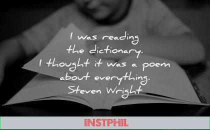reading quotes dictionnary thought poem about everything steven wright wisdom